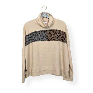 THML Animal Detail Turtleneck Waffle Knit Sweater